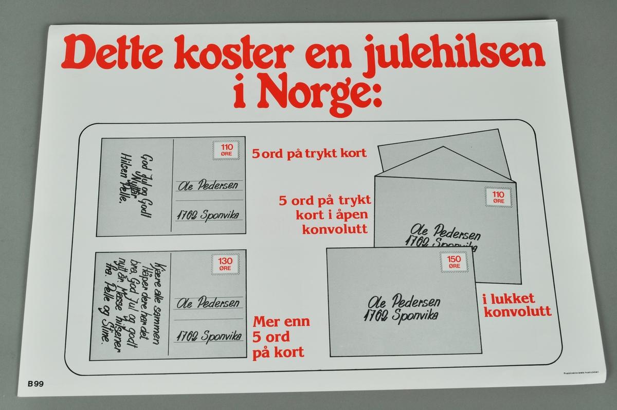 Opplysningsplakat for porto på julekort og julebrev. Bokmål og nynorsk