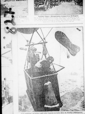 Ballongkorg, fotot taget ur en tidskrift.