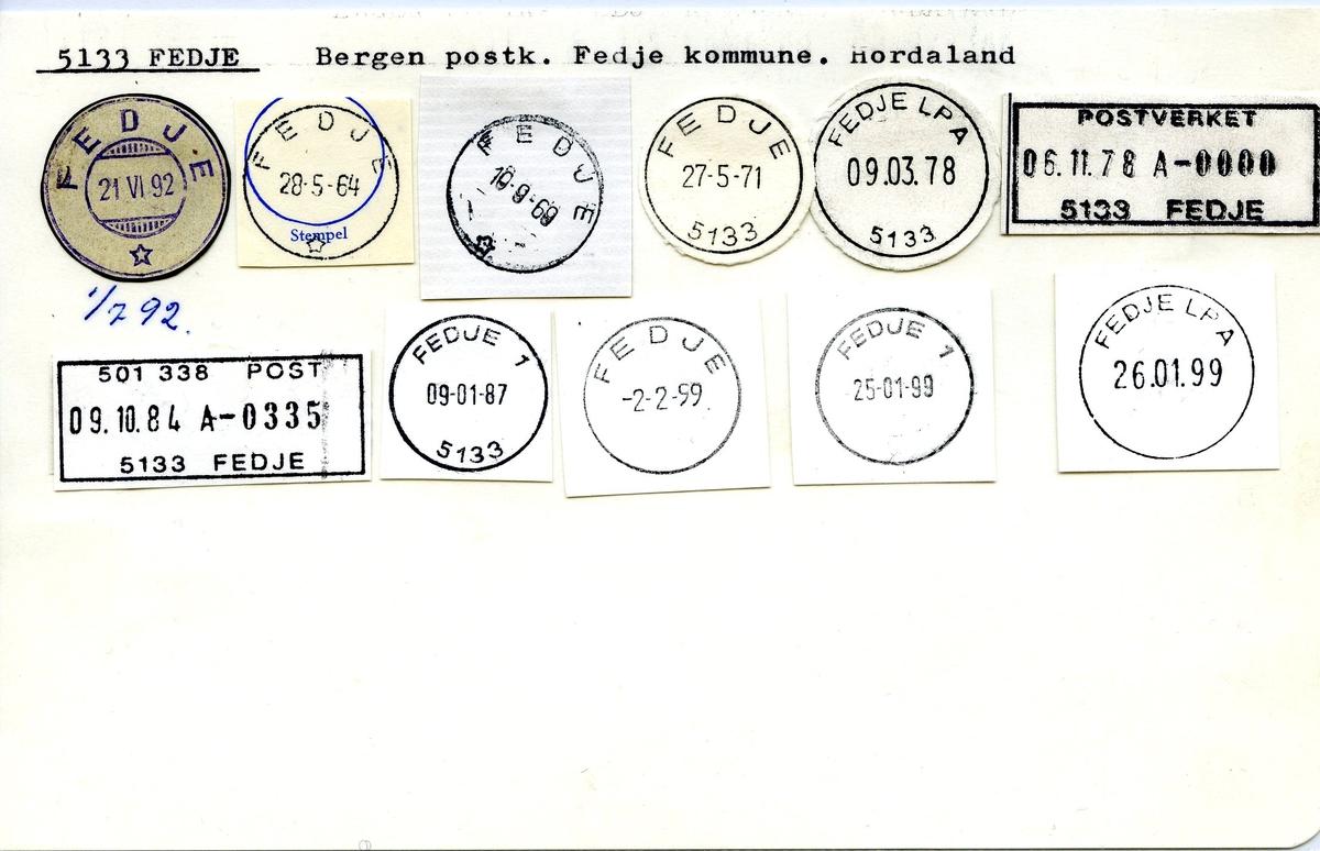 Stempelkatalog, 5133 Fedje, Hordaland