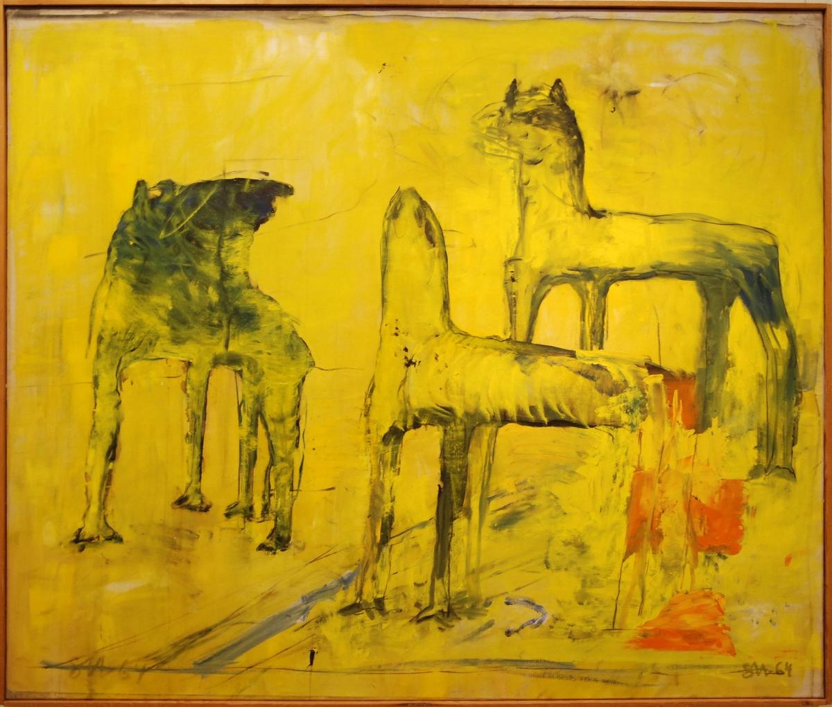 """Olja på duk, """"Ingens hundar"""", Staffan Hallström, 1964."""