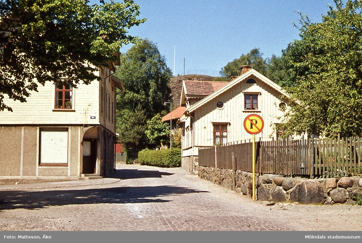 Bebyggelse vid Trädgårdsgatan i Mölndal. Gatan bär numera namnet Störtfjällsgatan. Till vänster ses C.B. Olssons charkuteri. Till höger ses huset Trädgårdsgatan 10 som senare har huserat Länkens Kamratförbund samt varit klubblokal för Kvarnby basket.