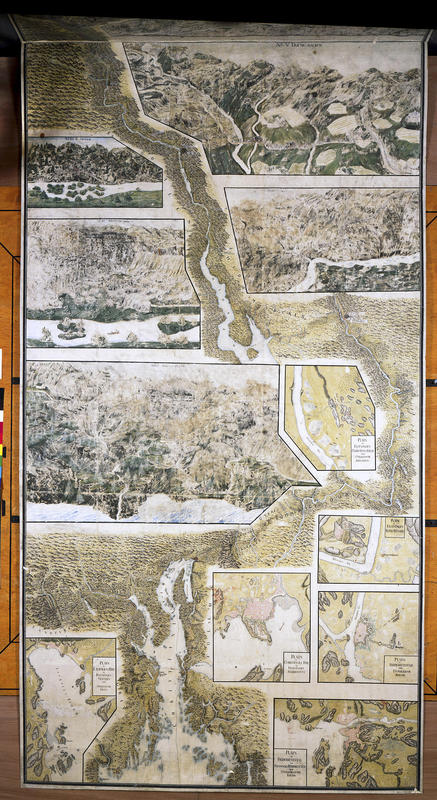 Kart over Christian 6.'s reiserrute på Østlandet med detaljkart over de ulike besøksstedene innfelt.