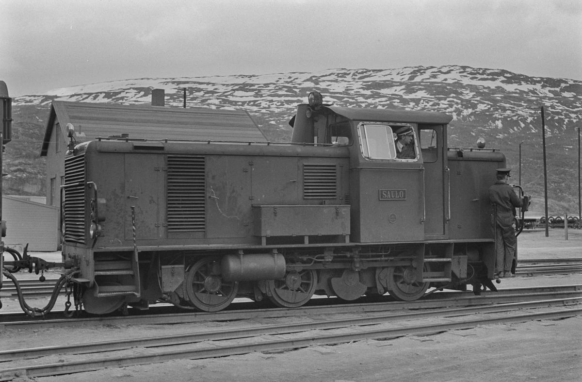 Sulitjelmabanens diesellokomotiv SAULO på Lomi.