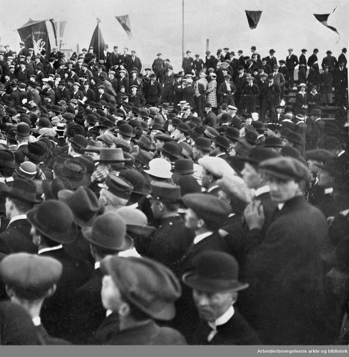 1. mai 1915 på Bislett stadion. I alt var 30.000 mennesker samlet på Bislett stadion, 15.000 av disse hadde deltatt i 1. mai toget. Dagen var preget av antimilitaristiske paroler og protester mot voldgiftsloven.