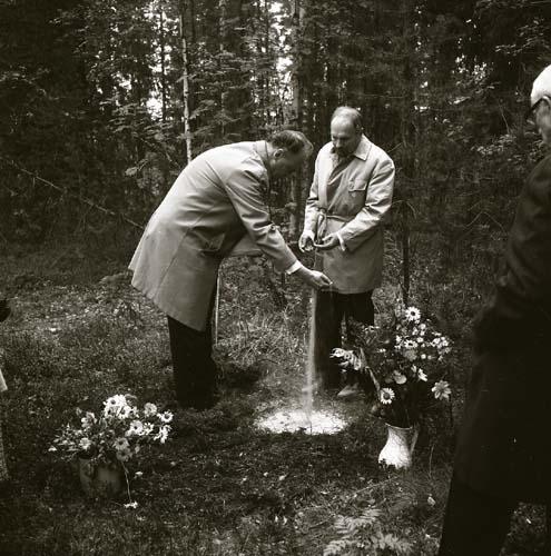 Albert Vikstens aska sprids vid Törnet söndagen den 7 september 1969 av hans söner Sven och Hans Viksten.