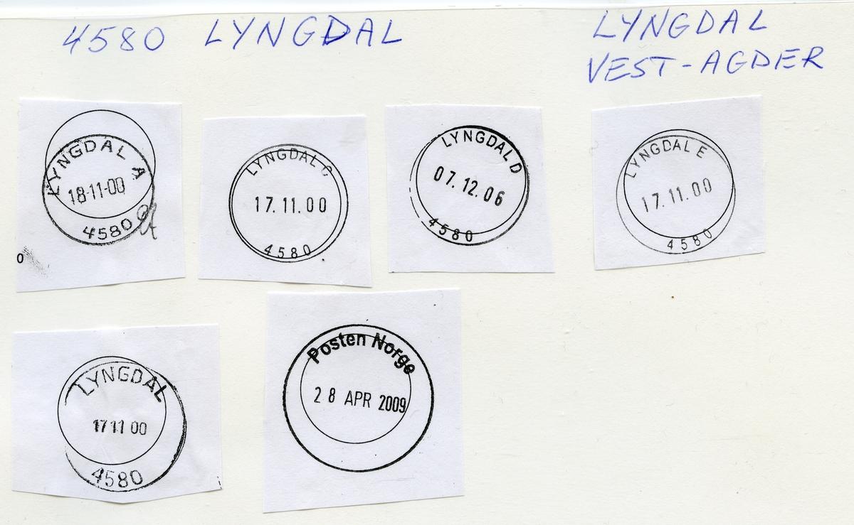 Stempelkatalog, 4580 Lyngdal, Farsund kommune, Vest Agder
