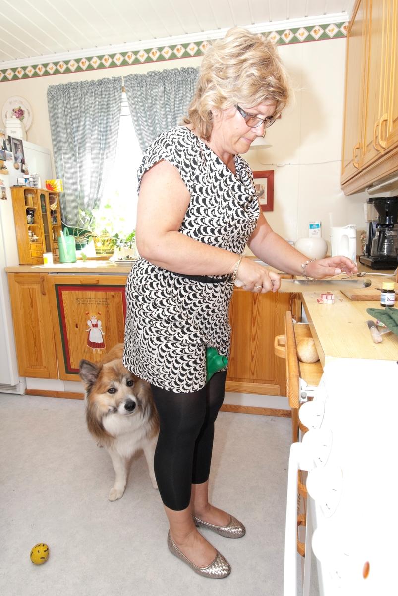 Hunden Romeo venter på maten som lages til av dens eier på kjøkkenbenken