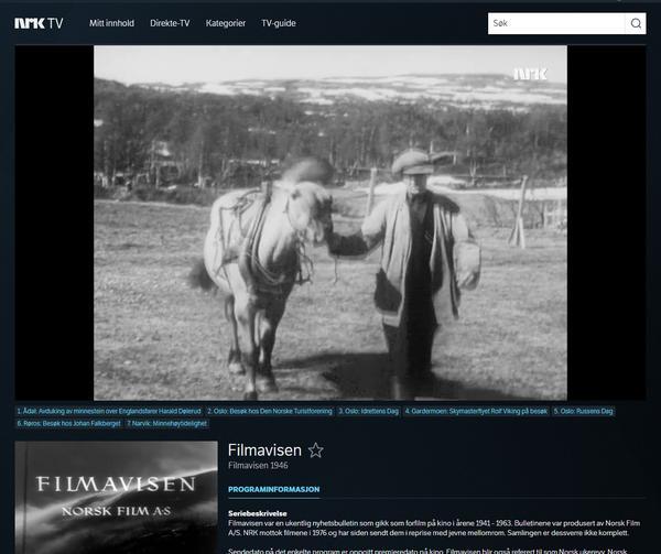NRK Filmavisen på besøk på Ratvolden 1946. Foto/Photo