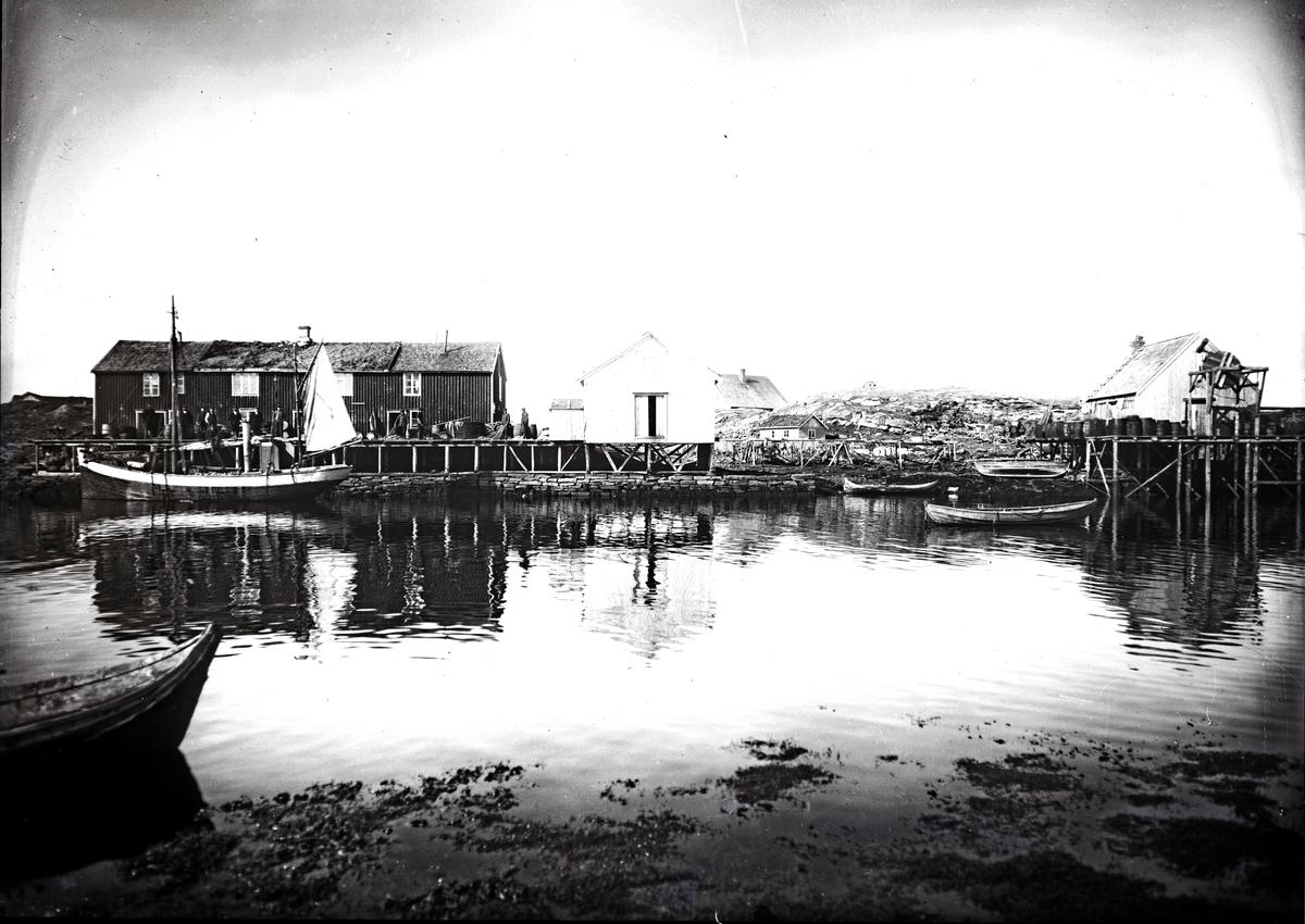 Havn (fiskevær) med kutter og småbåter