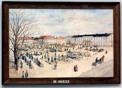 Växjö torg, april 1941 [Akvarellmålning]