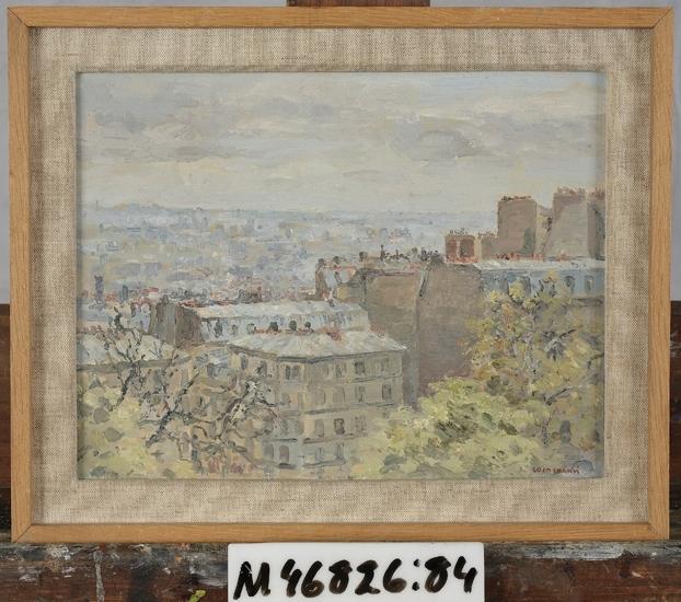 """Oljemålning på träpannå. """"Gråvädersdag, Paris"""", -1959. Utsikt över trädkronor och hustak."""