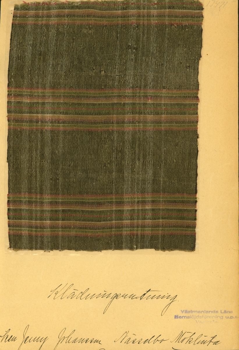 Anmärkningar: Vävnadsprov Olga Anderzons samling. Klänningsrutning, Fröken Jenny Johansson, Nässelbo Möklinta. Vävprov av halvylle i tuskaft, rutigt. Varpen av bomull och inslaget av ull är olika randade. Varpen har vita ränder på brun botten. Inslaget har ränder i rött, gult, grönt och vitt på brun botten. L. 1720 1680 Br. 2190 2200