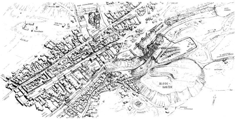 Bergstadens byplan på midten av 1800-tallet. Tegning av Sverre Ødegaard. (Foto/Photo)