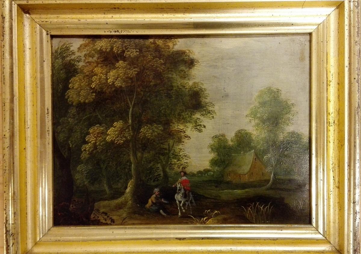 Usignert og udatert måleri med pastoralt motiv. Profilert gullfarga ramme i tre.