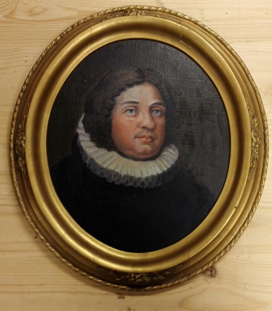 Måleriet er temmeleg sikkert kopi av eit gamalt portrett av Anders Jonasson Daae (1680-1763) frå Trondheim, busett i Vik. Prest og jordeigar. Sokneprest i Vik frå 1708 til 1763, prost frå 1718. Det har oval gullforgylt ramme.