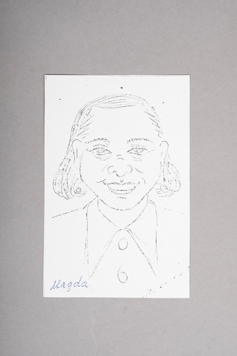 Kopi av portrett-tegning av Magda. Portrettet (originalen) er tegnet med blyant eller penn, og er i svart-hvitt.