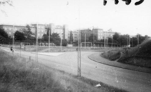 Kasern A 6, från järnvägsbron.