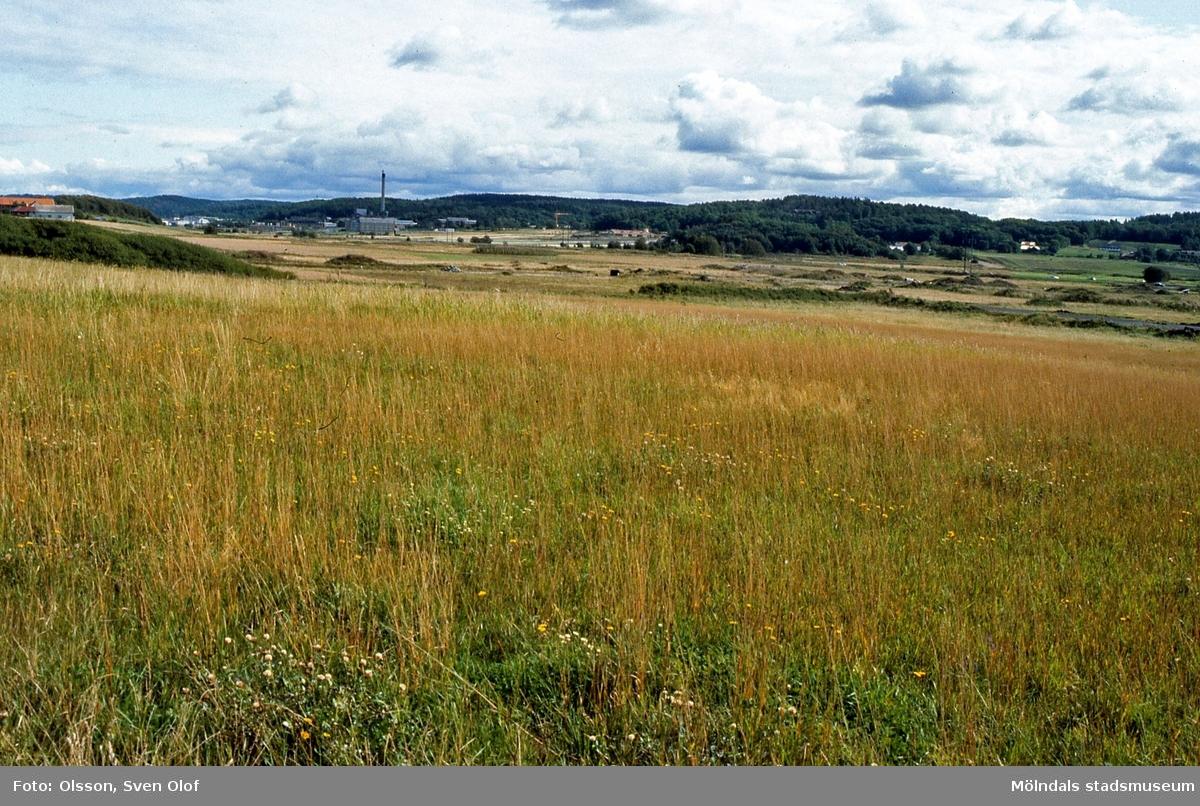 Eklanda i Fässbergsdalen, Mölndal, i september 1992. År 1992 låg den mesta marken obrukad, endast ett stycket i östra Eklanda söder om Frölundagatan brukades. FD 5:36.