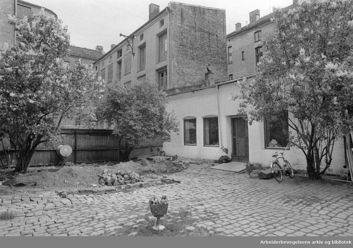 Grünerløkka. Gårdsrom friskes opp. Mai 1975