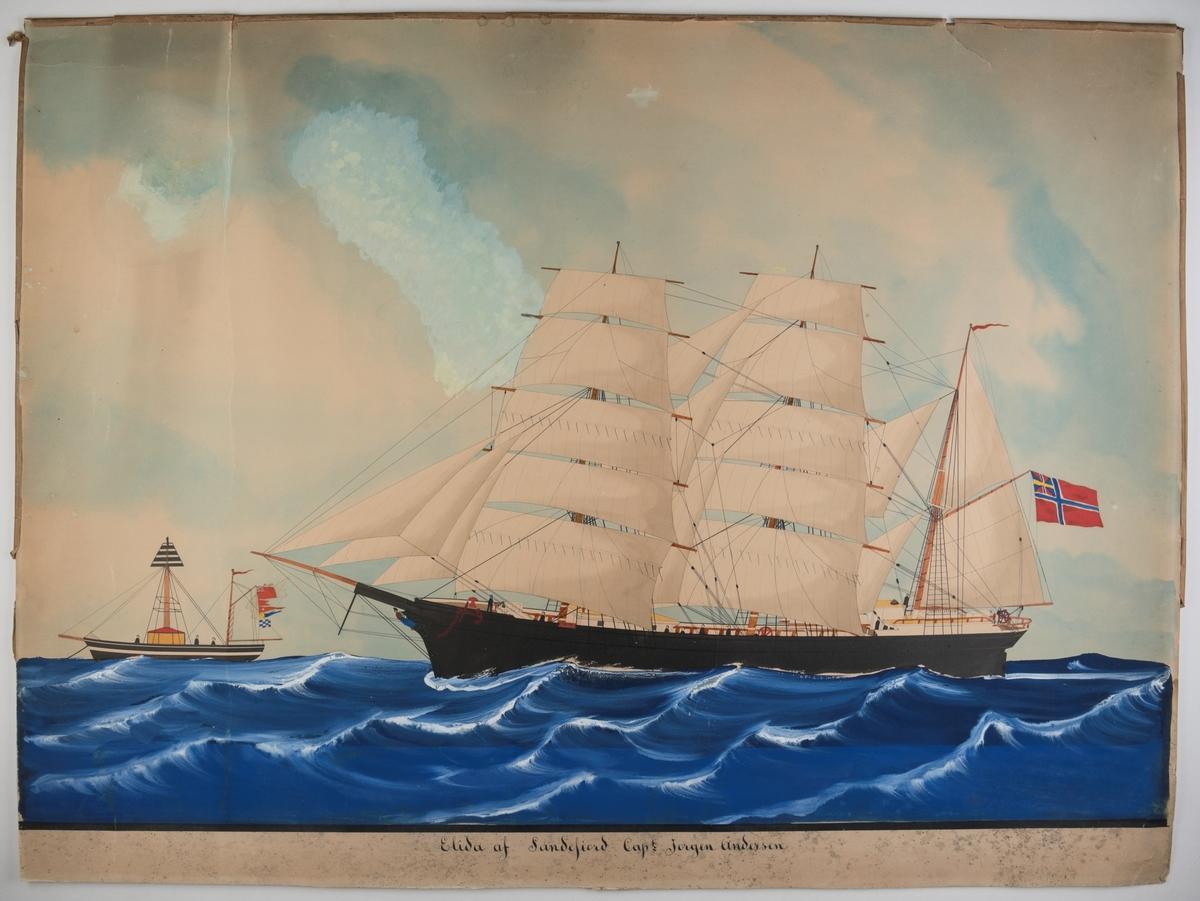 Bark 'Elida' af Sandefjord Unionsflagg, dobbelte mersseil, gallionsfigur. Passerer fangskipet som signaliserer under engelsk flagg BFGN (Liverpool)