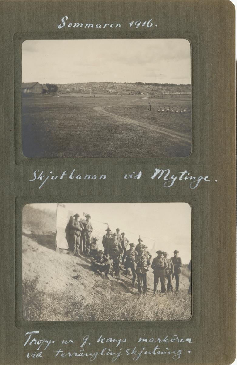"Text i fotoalbum: ""Skjutbanan vid Mytinge""."