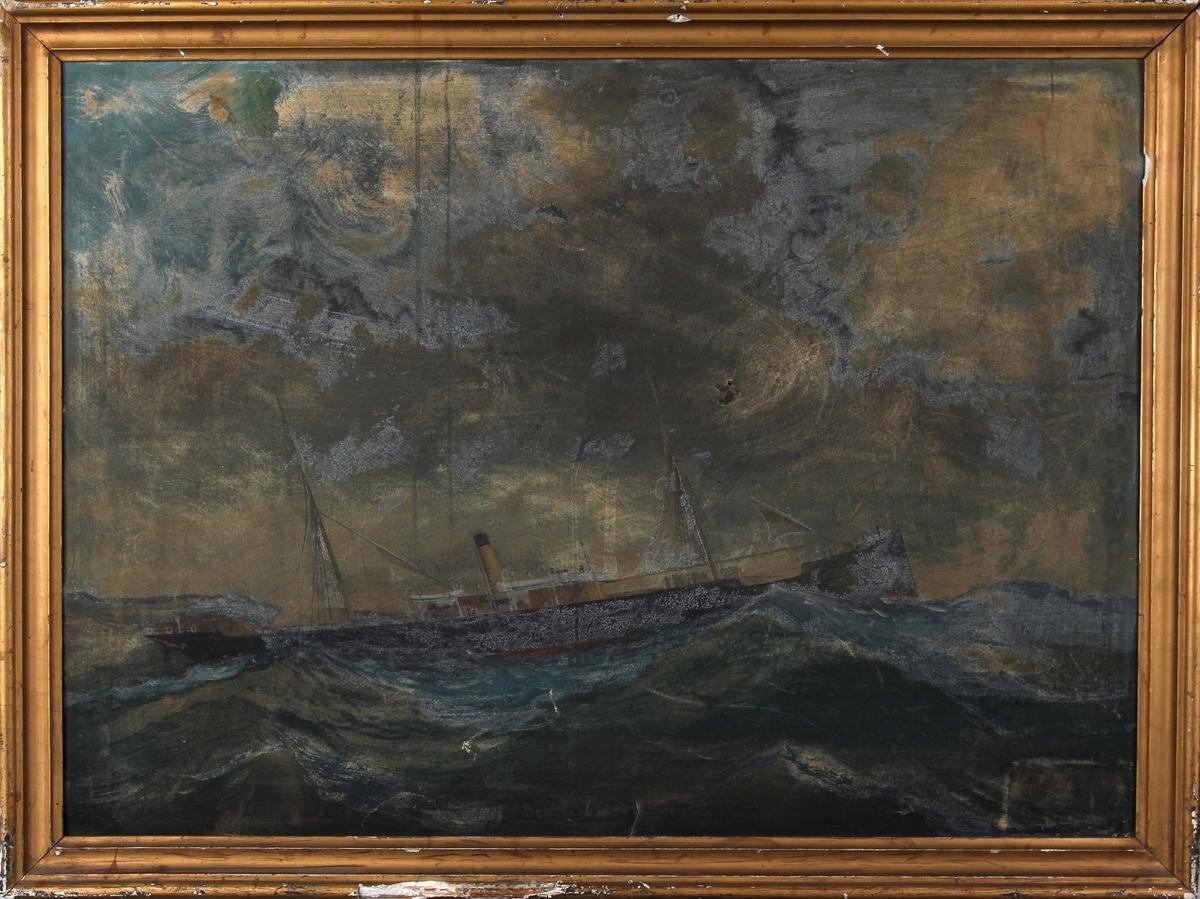 Skipsportrett av DS NICOLAUS under fart i åpen sjø. Maleriet er stekt skadet.