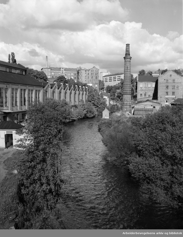 Akerselva. Fabrikker og industri langs elva. Knud Graahs fabrikker. 1949 - 1955