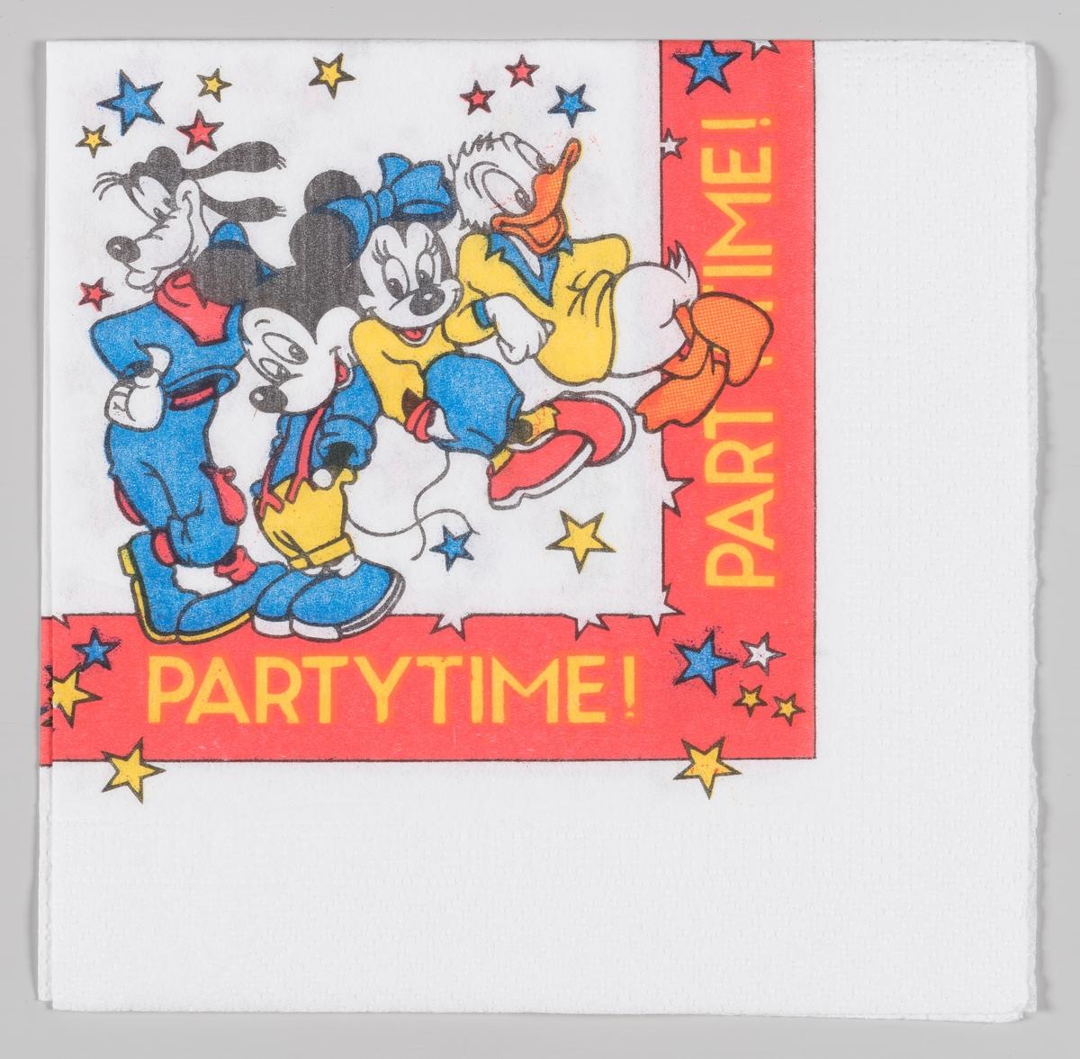 Langbein, Mikke Mus, Minni Mus og Donald er kledt på til party
