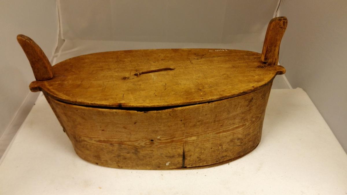 Form: Ovalt tverrsnitt.Rett, sveipt trøsk. Enden av trøsken v/ saum U-forma. To vertikale standarar, ein i kvar side. Laust, ovalt lok m/ lerhempe sentrert på lok.