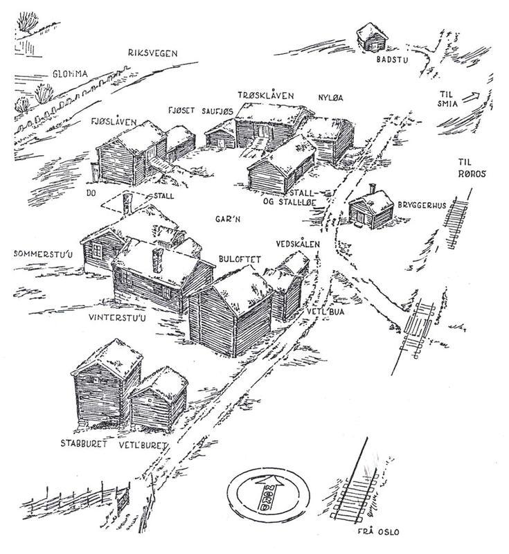 Skisse av tunet på Nordre Husan, tegnet av arkitekt Arne Berg i 1943. Like nord for eldhuset (bryggerhuset) står et nyere brønnhus.
