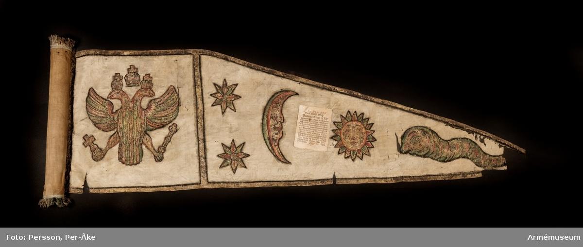 Lansfana för okänt ryttarförband. Duk av vit sidentaft och strumpa av rött linne försedd med frans vid öppningarna. Motivet målat i guld- och silver samt rött och grönt bestående av en krönt örn, måne, sol och stjärnor, På duken en pappersetikett som anger att den tagits i slaget vid Saladen 1703.