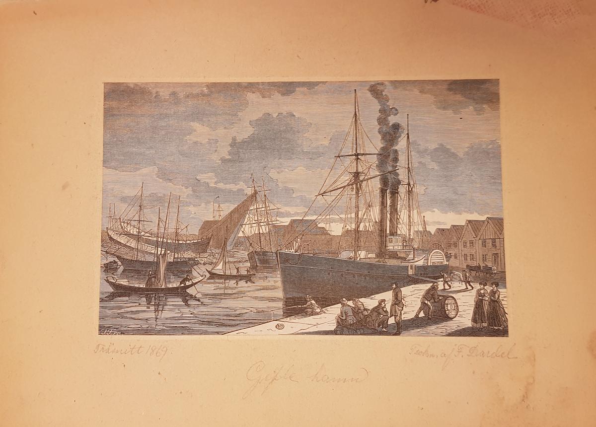 1869, Gefle hamn, teck. av F. Dardel