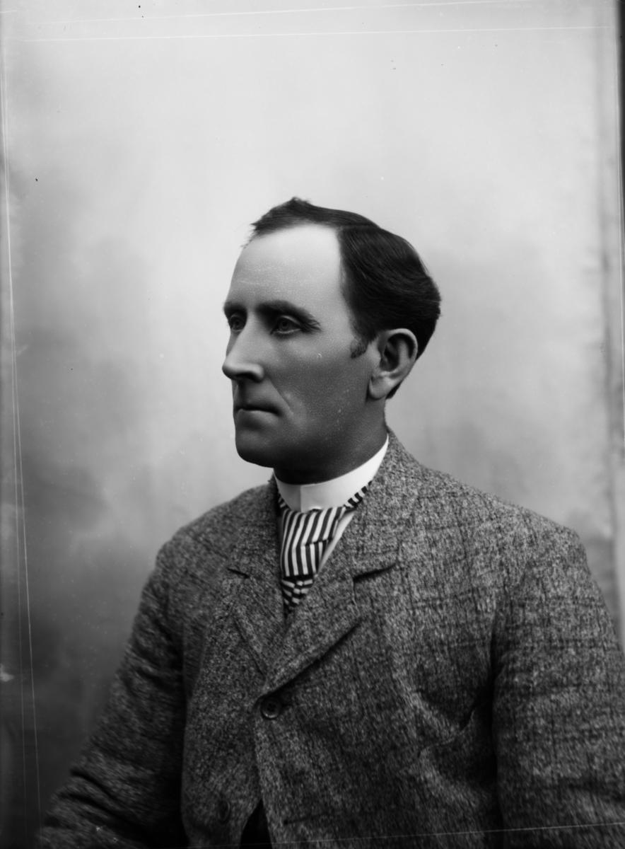 Portrett av mann med grårutet jakke og slips