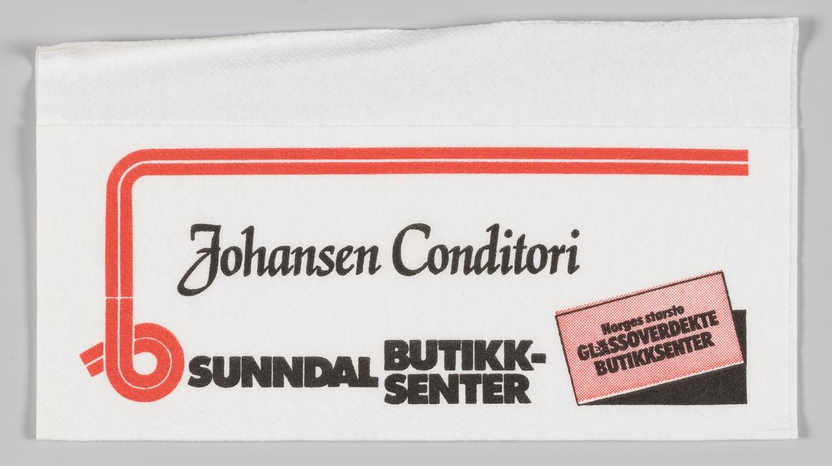 En ramme og en plakatt med reklametekst for Johansen Conditori og Sunndal butikksenter. Johansen Bakeri er Sunndalsøras eldste bedrift og den drives som en familiebedrift.  Sunndal butikksenter åpnet i 1962 og er i dag en del av AMFI Senterkjeden.
