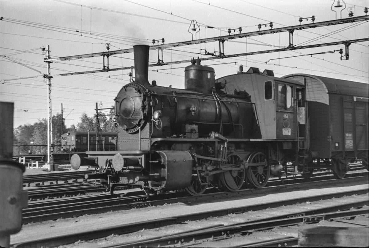 Damplokomotiv type 40a nr. 462 i skiftetjeneste på Lillestrøm stasjon.