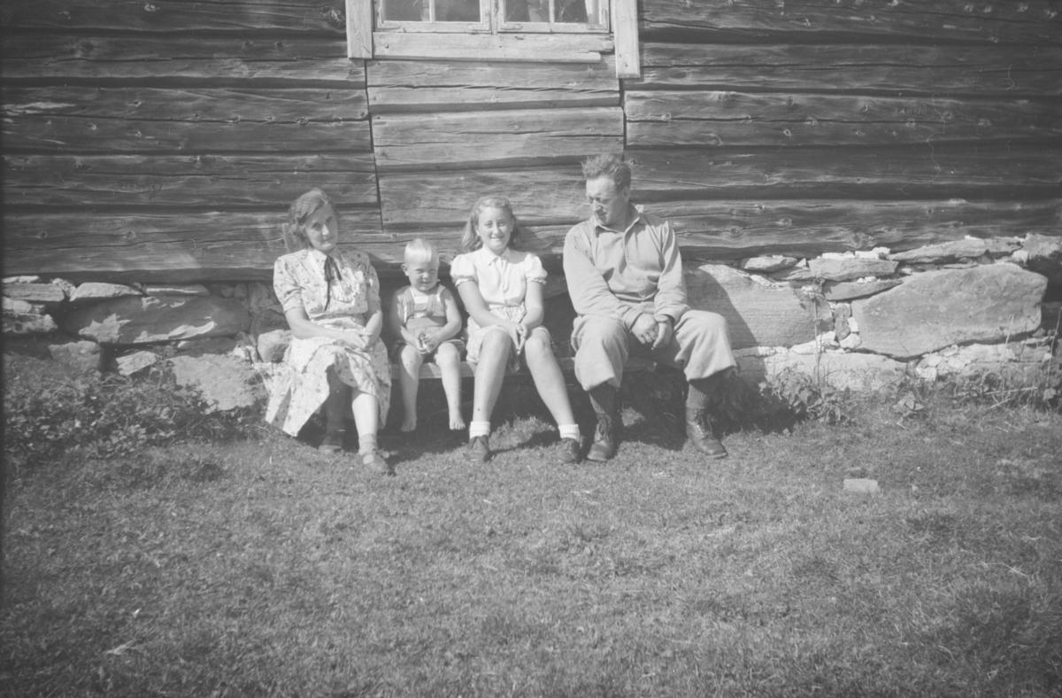 På Druktjørnhaugen seter.  Budeie Oline Brudal med Børre Peder, Ingeborg og Birger Børresen på besøk