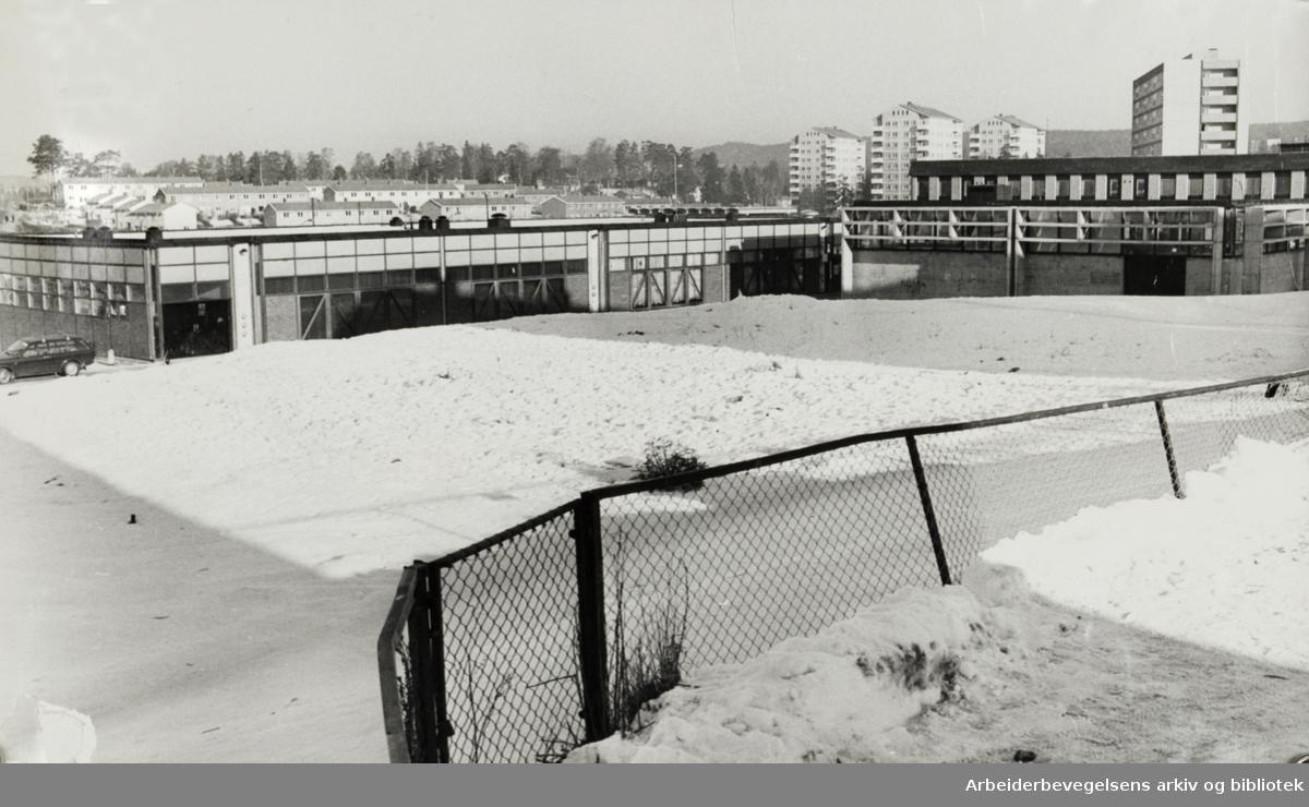 Bøler samfundshus. Her skal Bøler svømmehall bygges. Februar 1976