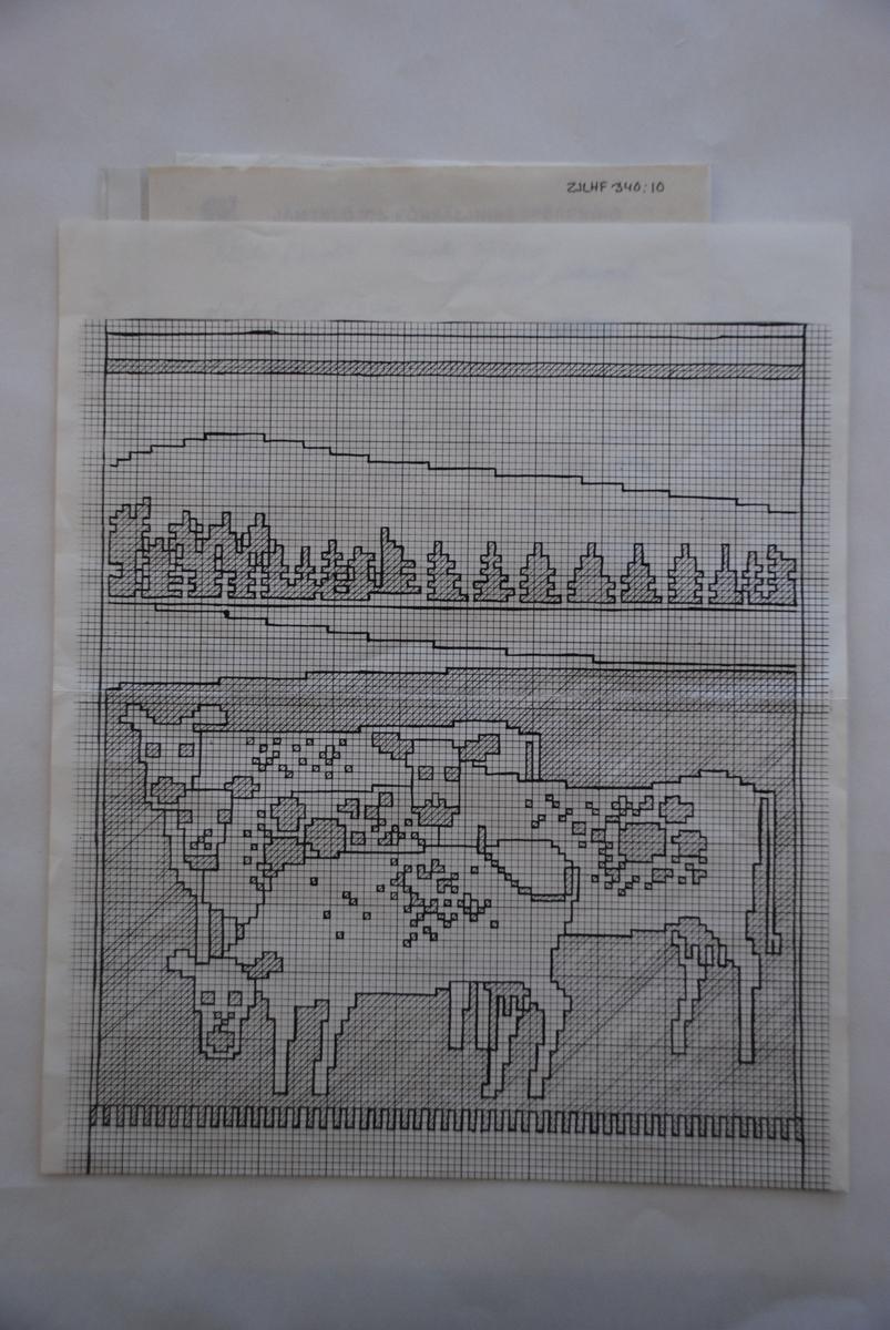Skiss till finnväv komponerad av Anita Persson.