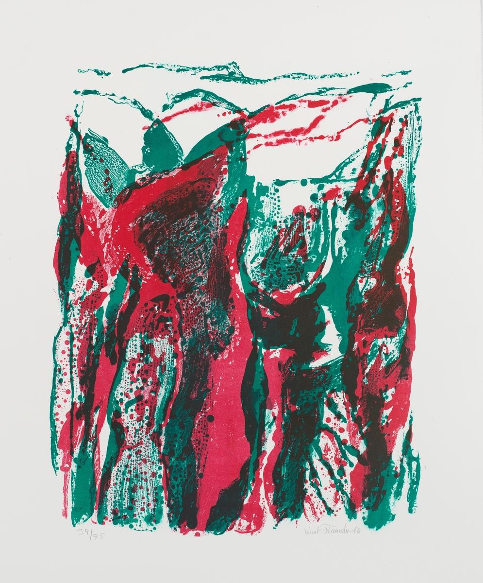 """To lærdølingar, grafikaren Knut Rumohr (1916-2002) og forfattaren og læraren Marianne Rumohr (1885-1970), blei særleg viktige for det kuratoriske grepet om kunsten i bygget. Det fanst allereie eit monumentalt materialbilde av Knut Rumohr på høgskulen, og dei grafiske arbeida """"Fjell"""", """"Landskap"""" """"Klipper"""" og """"Naturinntrykk"""" går i direkte dialog med materialbildet frå 1972. Med dei tre siste grafiske verka har høgskulen fått ei fin samling Knut Rumohr-arbeid."""