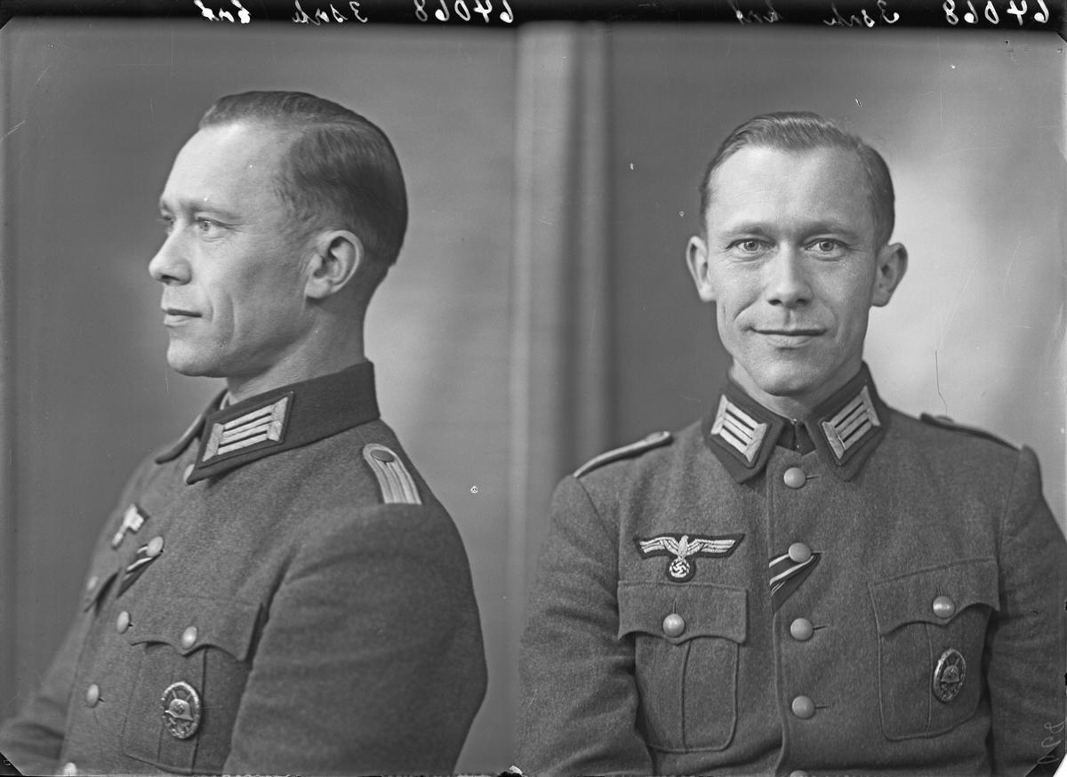 Portrett. Ung mørkhåret mann i tysk uniform. Feltprest. Bestilt av Erik Bergmann. Feltprest nr. 00983