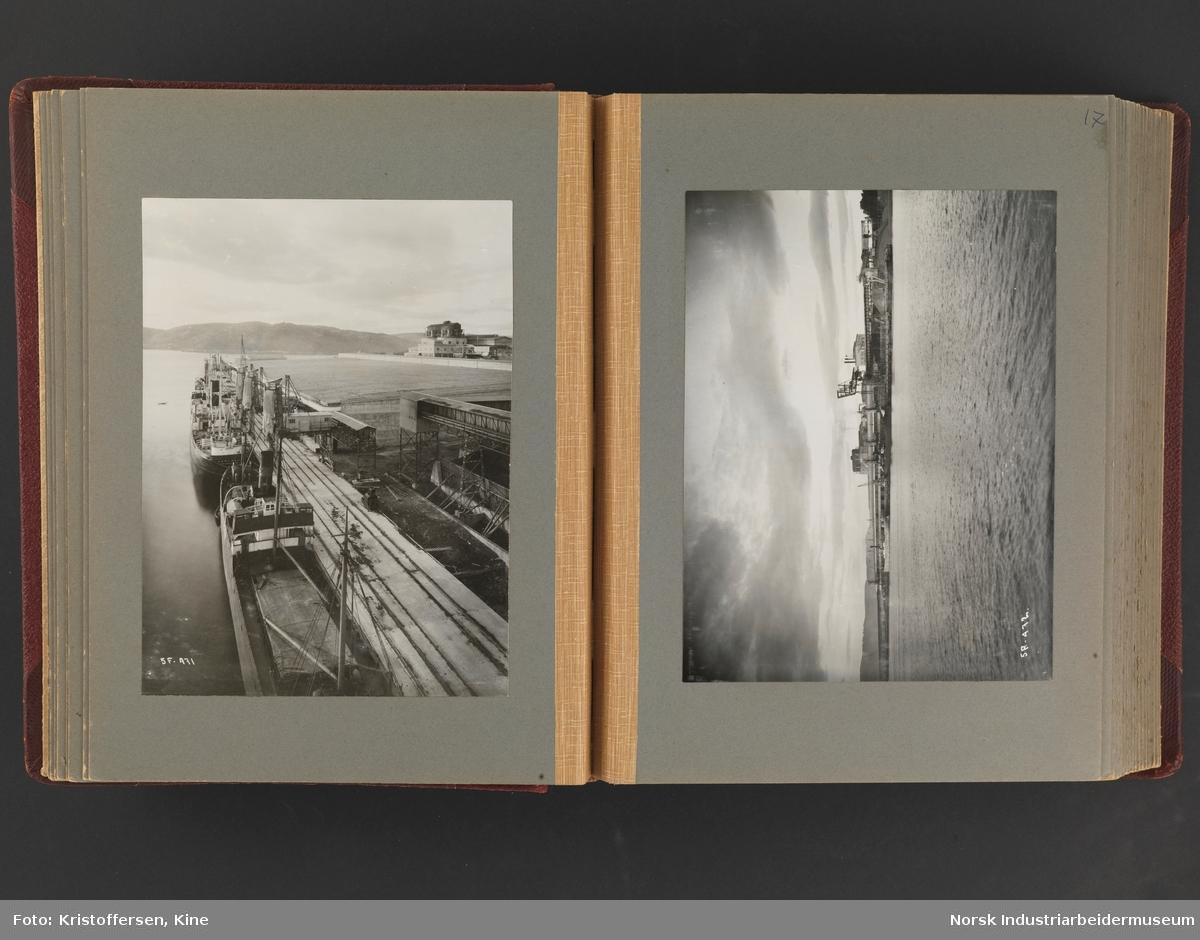 Fotoalbum med 88 sider og 116 innlimte fotografier fra Norsk Hydro på Herøya. Fotografiene viser starten av Eidanger Salpeterfabriker