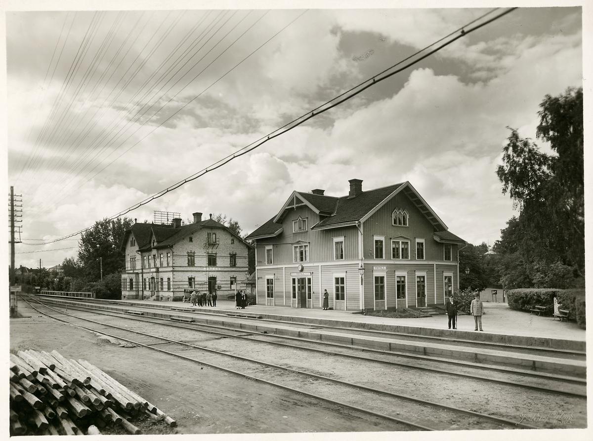 Järnvägsstationen och järnvägshotellet i Fritsla.