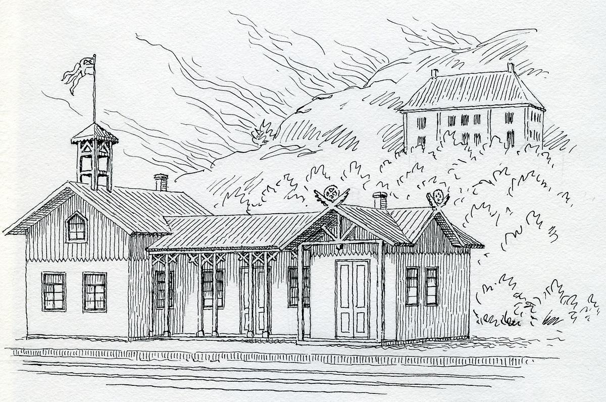 Partilles första stationshus. Rekonstruktion efter ritning.