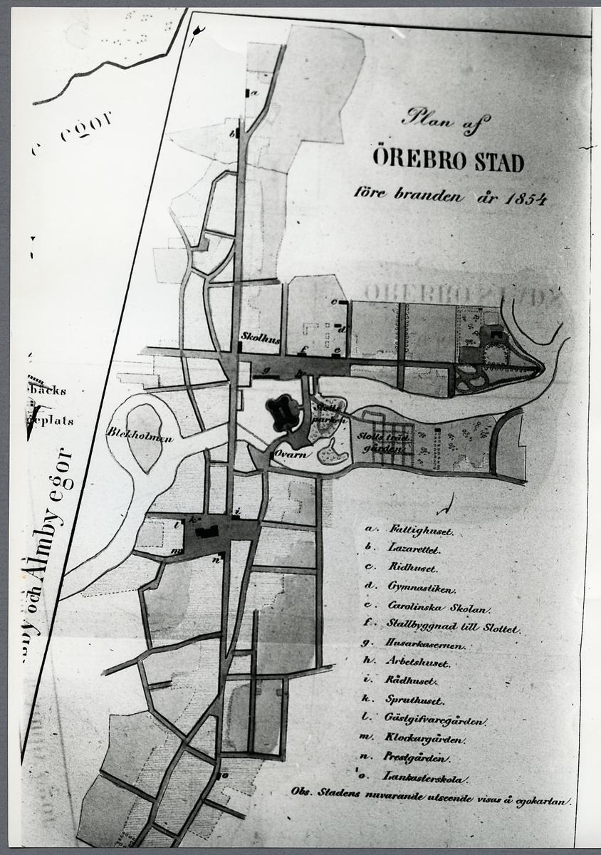 Plan över Örebro stad före branden.