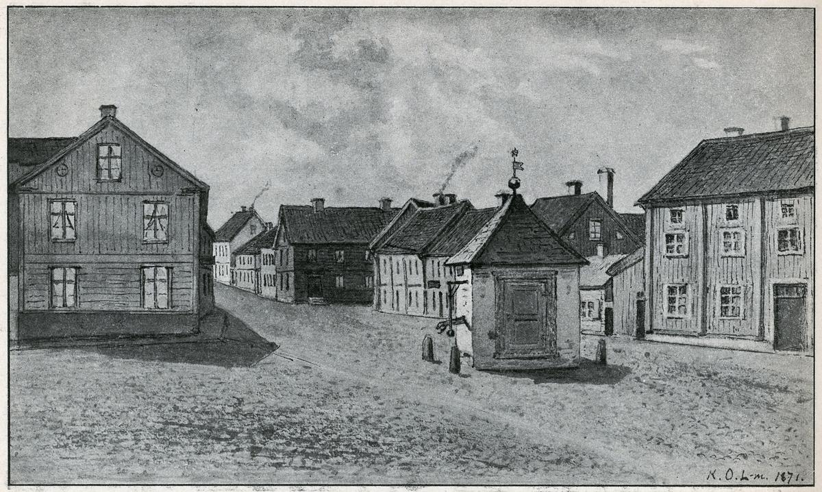 Örebro. Näbbtorget och en del av Våghustorget söderut från Drottninggatan, med gamla pumpkällan i förgrunden.
