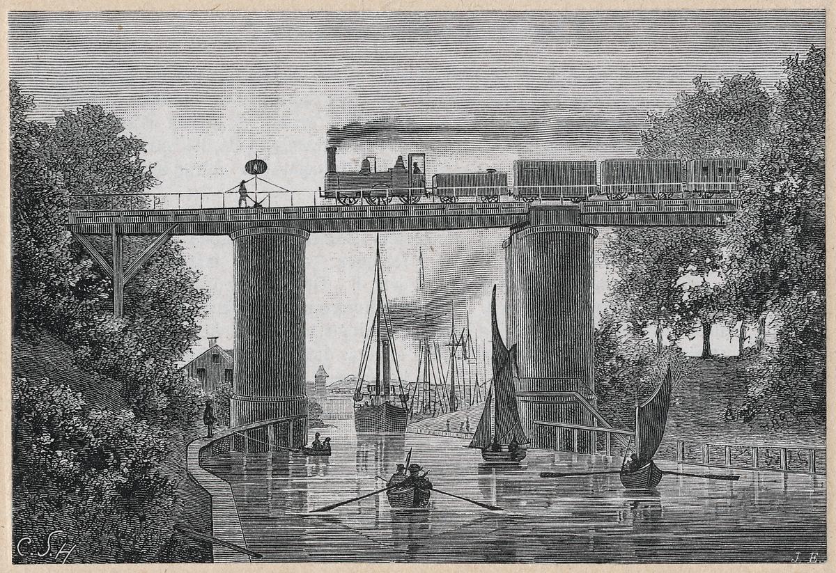 Träsnitt av gamla bron i Södertälje år 1888.