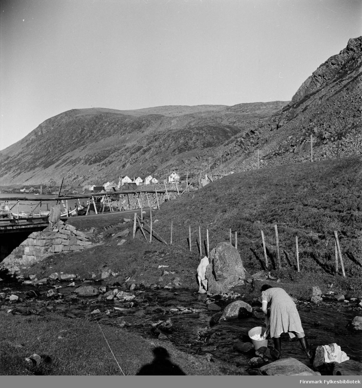 Kjøllefjord i 1940. Klesvask i elva en vakker sommerdag i Kjøllefjord. Kvinnene har fraktet vasken i sinkbaljer og bøtter. Å vaske klær i elva var hardt arbeid og tungt for ryggen. På andre siden av elva står en kalv og drikker vann. Brua som går over elva finnes den dag i dag. I bakgrunnen ser man også endel av Kjøllefjords bebyggelse, fiskebruk og fiskemottak. En gang i tiden fantes det en stor gammel stein som markerte Kjøllefjord bru, men den steinen ble fjernet. Kanskje er det den vi ser på toppen av steinmuren? Som en kuriositet kan vi nevne at fotografen Elisabeth Meyers skygge er med i bildet.