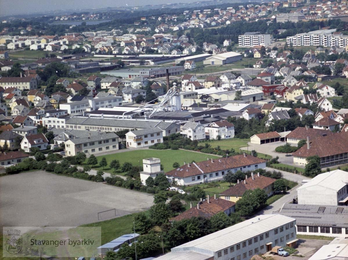 Bedrifter i Hillevåg, bl.a. Sven Andersen møbelfabrikk, tyskerbrakkene, Gartnerhallen (nå: Kilden)..Øverst blokkene i Bjaalandsgate, sykehusområdet, Vålandskråningen, Mosvatnet