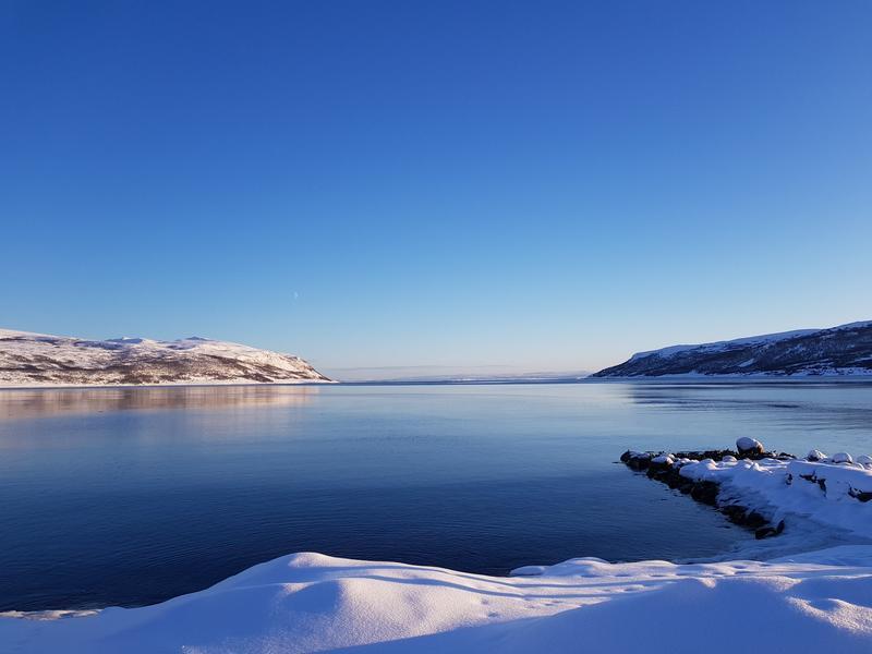 Utsikt over Olderfjord, februar 2019