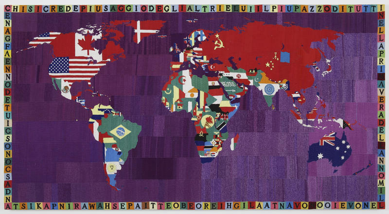 "Alighiero Boetti, ""Mappa"" 1990. Cotton embroidery on canvas. 118,1 x 220,3 cm. © Alighiero Boetti by SIAE/KOPINOR 2019. Photo David Regen, New York"